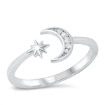 Silver CZ Ring - Moon & Star - Start $4.29