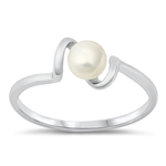 Silver CZ Ring - Freshwater Pearl - $4.51