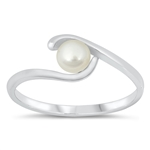 Silver CZ Ring - Freshwater Pearl - $4.76