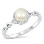 Silver CZ Ring - Pearl - Start $5.17