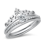 Silver CZ Ring - Crown Solitaire - $9.38