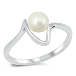 Silver CZ Ring - Freshwater Pearl - $5.42