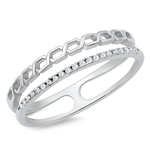 Silver CZ Ring - Double Band - $5.98