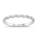Silver CZ Ring - Twisted Band - $4.47