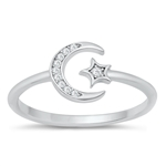 Silver CZ Ring - Moon & Star - $4.49
