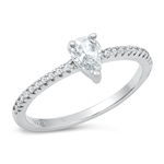 Silver CZ Ring - Pear Solitaire - $5.49