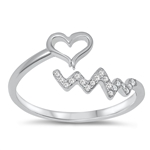 Silver CZ Ring - Heart Line - $5.85