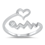 Silver CZ Ring - Heart Line - $5.83