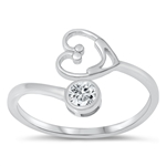 Silver CZ Ring - Smiley Heart