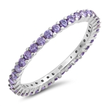 Silver Ring W/ Amethyst CZ - Start $4.89