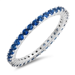 Silver Ring / Blue Sapphire CZ - $5.25