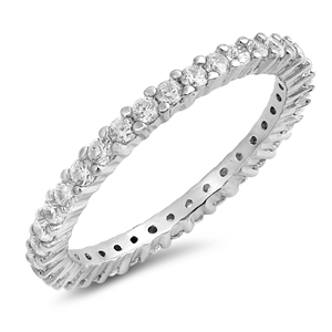 Silver Ring W/ Clear CZ - $4.37