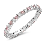 Silver Ring W/ Pink & Clear CZ - $4.89