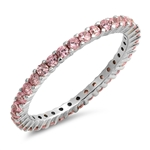 Silver Ring W/ Pink CZ - $4.89