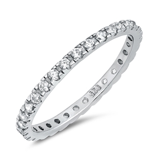 Silver Ring Clear CZ - $3.75
