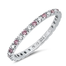 Silver Ring W/ Pink & Clear CZ - $3.29