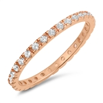 Silver CZ Ring - Rose Gold Plated - $4.39