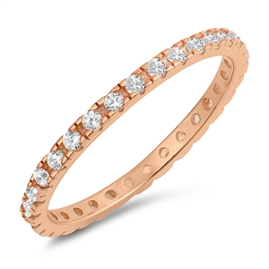 Silver CZ Ring - Rose Gold Plated - $3.87