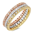 Stackable Silver Ring - 3 Color Bands