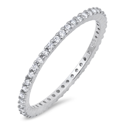Silver Ring W/ Clear CZ - $4.00