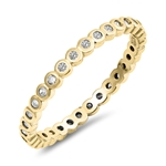 Silver CZ Ring - Yellow Gold - $3.59