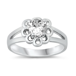 Silver CZ Baby Ring - Heart - $4.28
