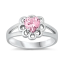 Silver CZ Baby Ring - Heart - $4.32