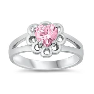 Silver CZ Baby Ring - Heart - $4.75