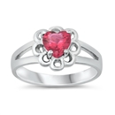 Silver CZ Baby Ring - Heart