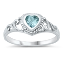 Silver Baby Ring W/ CZ - Heart  -  $3.42