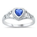 Silver Baby Ring W/ CZ - Heart  -  start $3.29