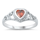 Silver Baby Ring W/ CZ - Heart  -  stat $3.29