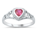 Silver Baby Ring W/ CZ - Heart  -  from $3.29