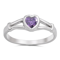 Silver Baby Ring W/ CZ - Heart  -  $3.35