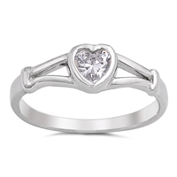 Silver Baby Ring W/ CZ - Heart - $3.69