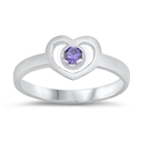 Silver Baby Ring W/ CZ - Heart - $3.29
