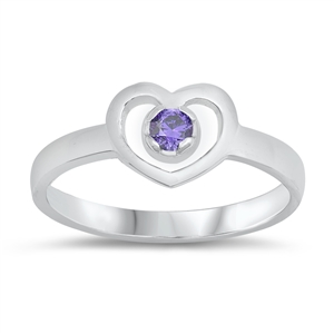 Silver Baby Ring W/ CZ - Heart - $3.62