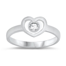Silver Baby Ring W/ CZ - Heart  -  $3.15
