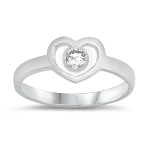 Silver Baby Ring W/ CZ - Heart - $3.47
