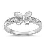 Silver Baby Ring W/ CZ  - Butterfly  -  $6.28