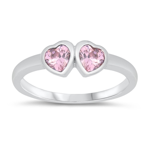 Silver Baby Ring W/ CZ - Heart - $3.67