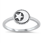 Silver Ring - Moon & Star - $2.18