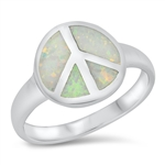 Silver CZ Ring - Peace Sign - $7.35