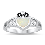Silver Lab Opal Claddagh Ring - $6.28