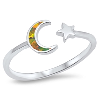 Silver Lab Opal Ring - Moon and Star - $3.69
