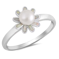 Silver Ring W/ CZ - Flower - $7.29
