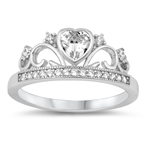 Silver CZ Ring - Heart Crown - $4.97