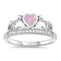Silver Lab Opal Ring - Heart Crown - $5.24