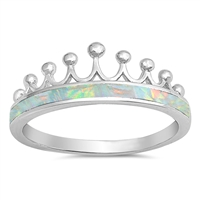 Silver Lab Opal Ring - Crown - $6.22