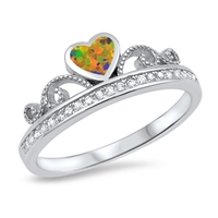 Silver Ring w/ CZ - Heart Crown - $5.92